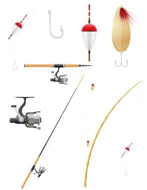 set icons fishing equipment vector illustration