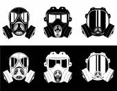 Photo icons gas mask black and white vector illustration
