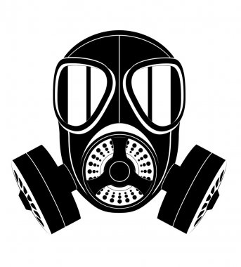 Icon gas mask black and white vector illustration isolated on white background stock vector