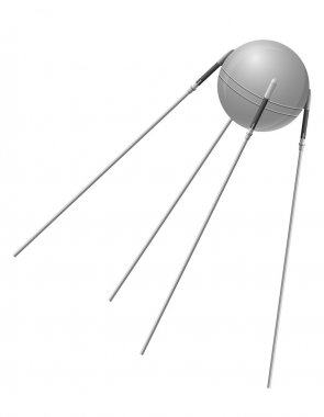 earth satellite sputnik vector illustration