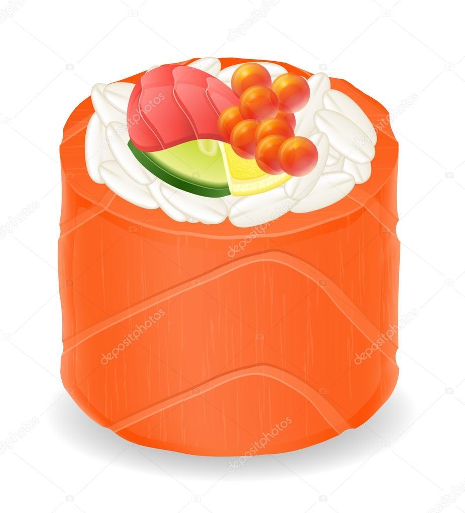 sushi rolls in red fish vector illustration