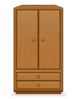 old retro wooden furniture wardrobe vector illustration