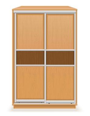 modern wooden furniture wardrobe with sliding doors vector illus