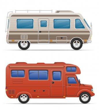 car van caravan camper mobile home with beach accessories vector