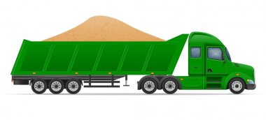 truck semi trailer delivery and transportation of construction m