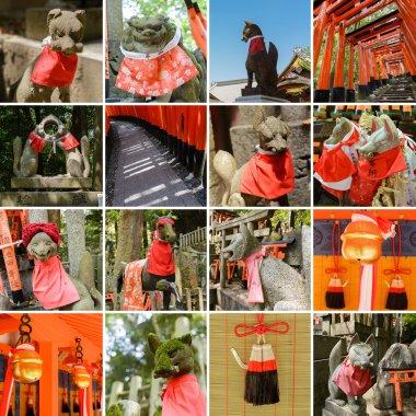 Collection of Fushimi Inari Taisha Shrine scenics, fox statue, thousands of torii, paper cranes of thousand etc. stock vector