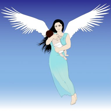 Flying woman with child