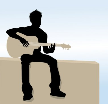Vector Man playing guitar