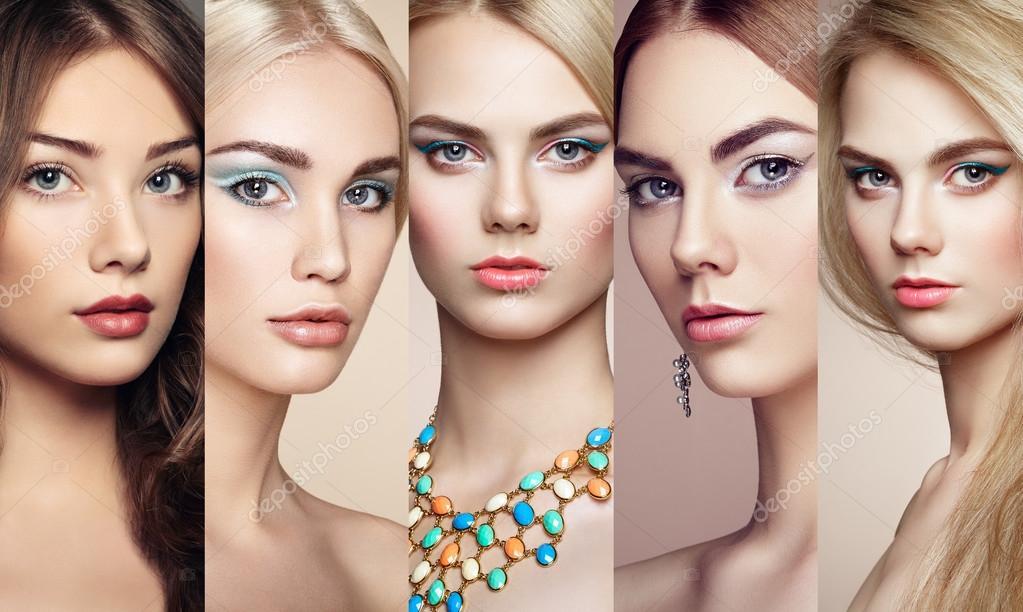 Collage De Belleza. Rostros De Mujeres