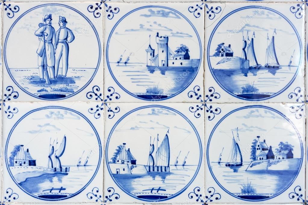 Blau Delft Fliesen Stockfoto C Magann 119305364
