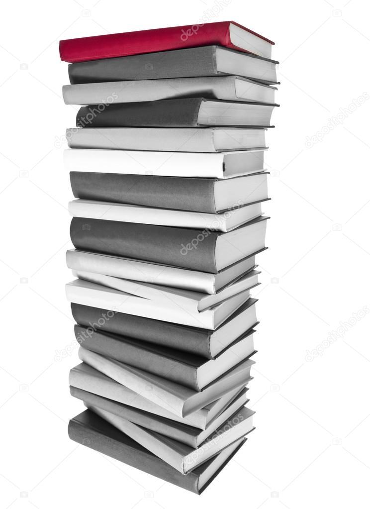 Pile De Livres Noir Et Blanc Et Un Livre Rouge Sur Le Dessus