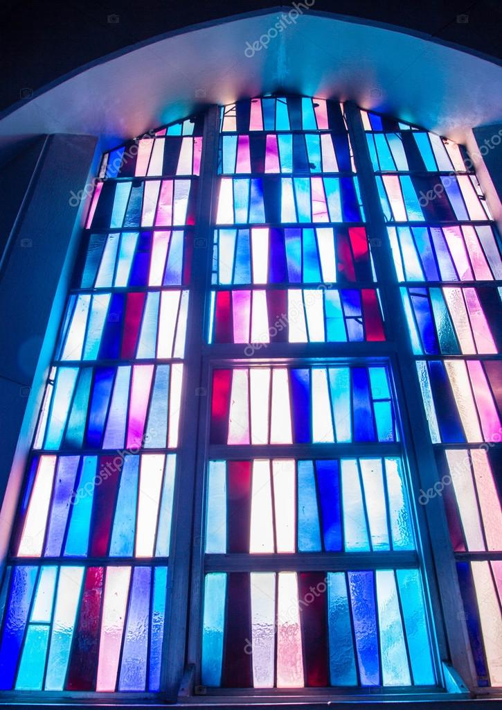 Simple Pattern In Stained Glass Church Of Abbey Stock Photo