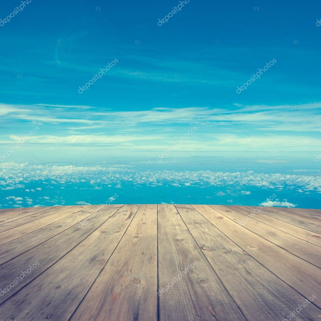 Aerial view from wooden platform