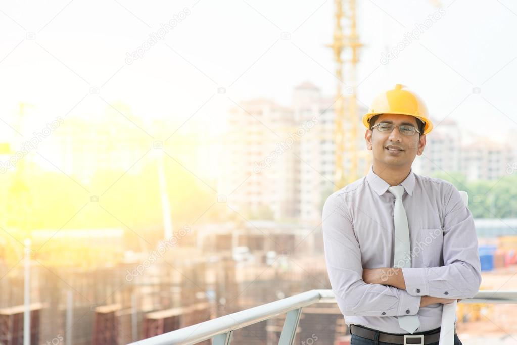 Asian male site contractor engineer