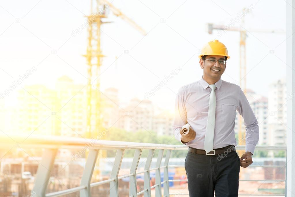 Asian Indian male site contractor engineer walking