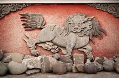 Carved animal at monastery