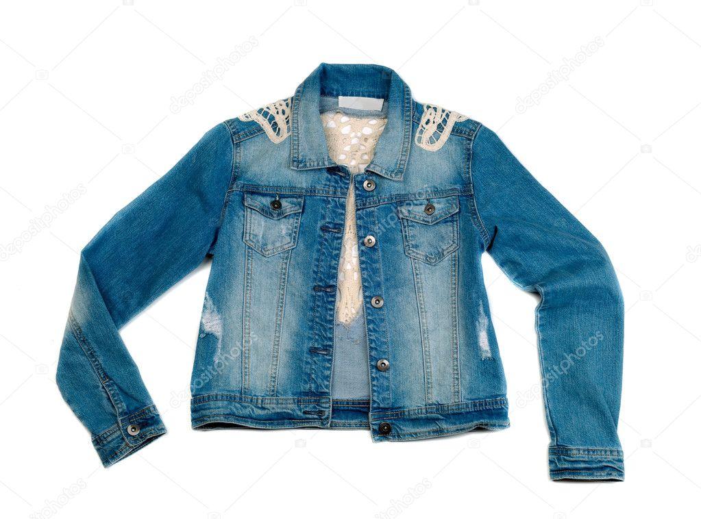 9f015a9f9fed Jaqueta de brim azul sobre um fundo branco — Fotografias de Stock ...