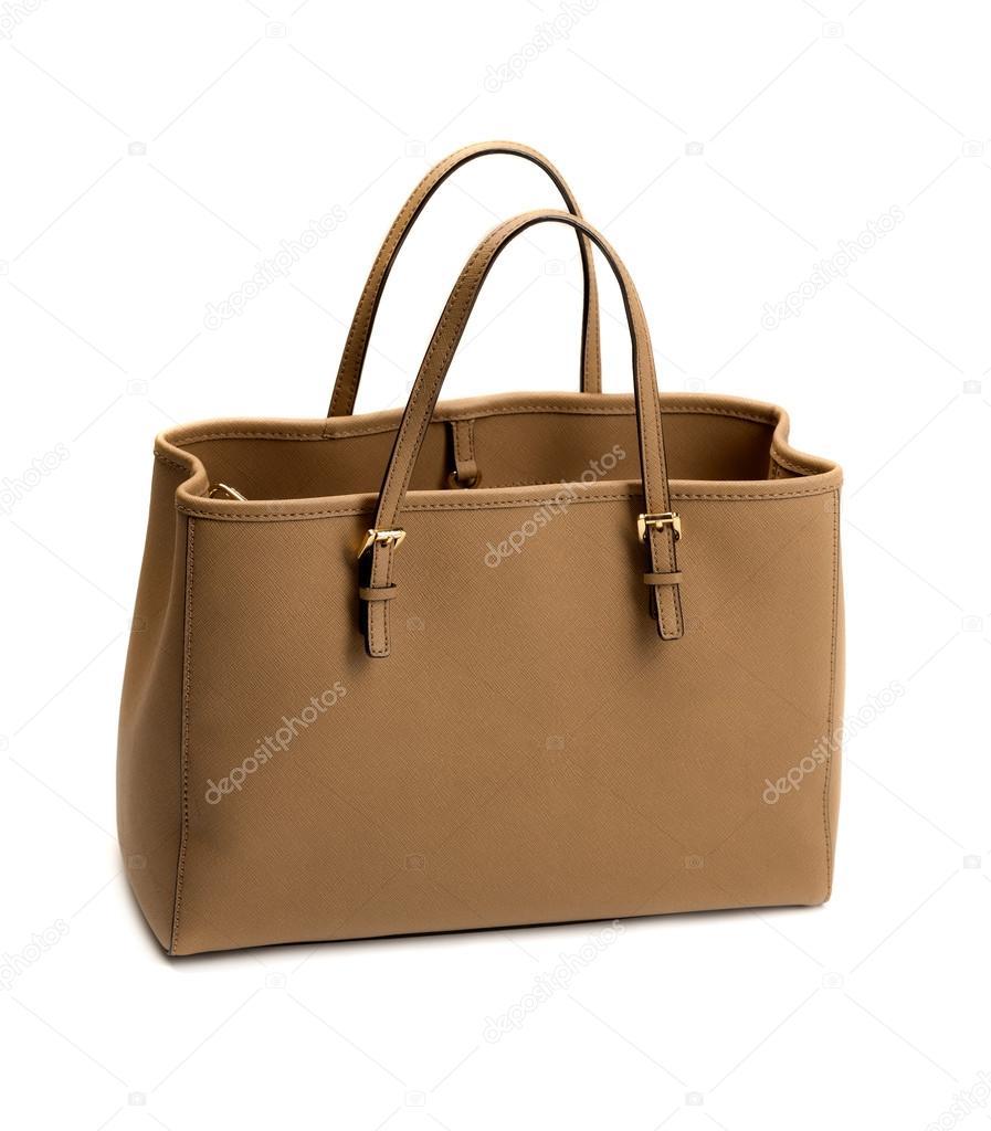 Bézs színű női táska elszigetelt fehér background — Stock Fotó ... 6ff6b9c073