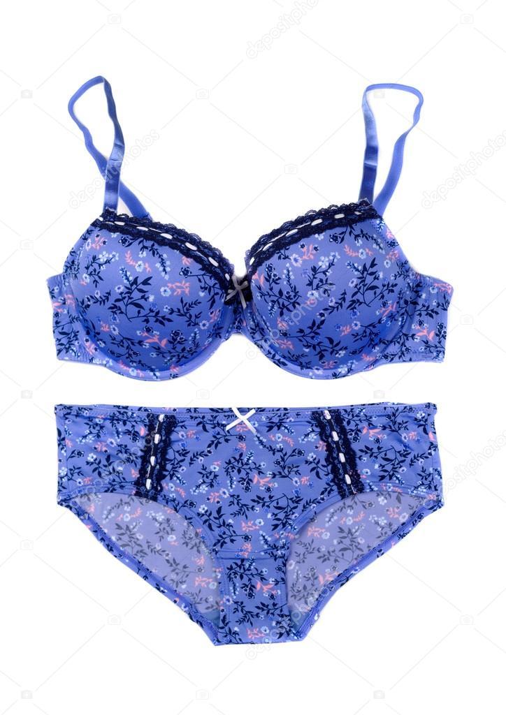 8a027f435 Conjunto azul de la ropa interior. Aislar en blanco - ropa interior femenina  de encaje azul — Foto de Ruslan
