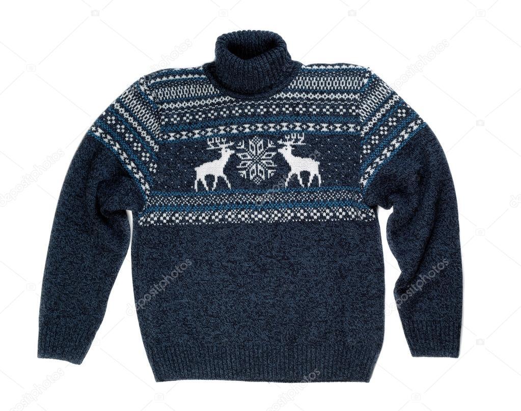136614159492 Πλεκτά πουλόβερ με ένα μοτίβο ελάφι. Απομονωθεί σε λευκό — Εικόνα από ...