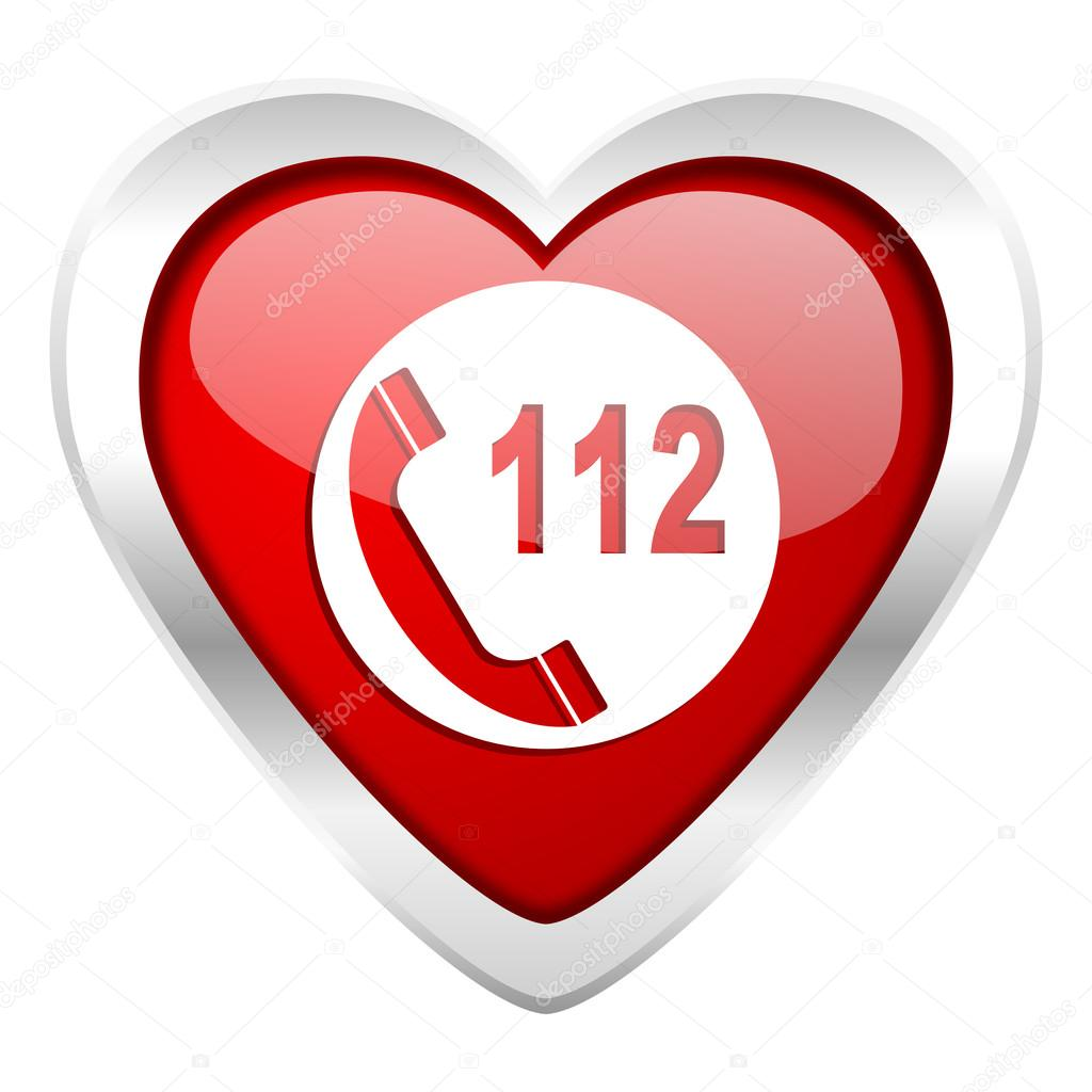 Emergency call valentine icon 112 call sign — Stock Photo