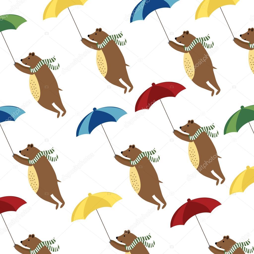 Bears with umbrellas