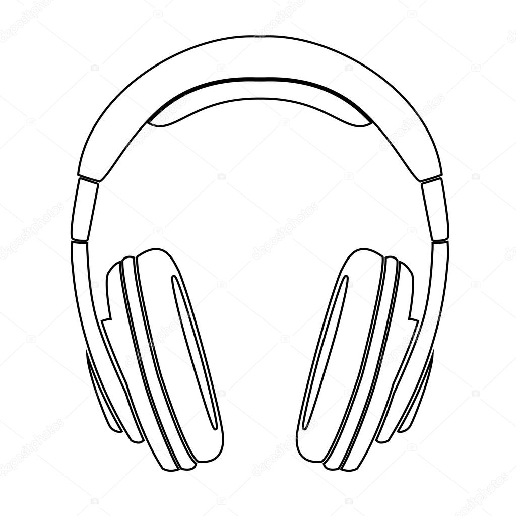 Line Art Headphones : Simple headphones in silhouette — stock vector ngaga