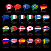 Fotografie Set of  language bubble with flags