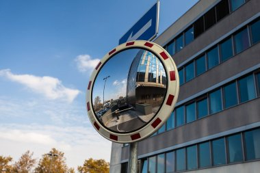 Convex mirror at a street