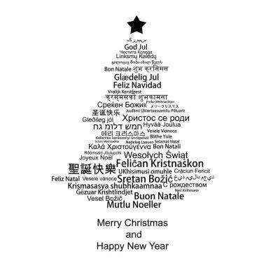 Merry Christmas tree on white