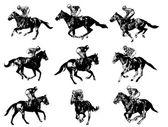 racing horses and jockeys illustration