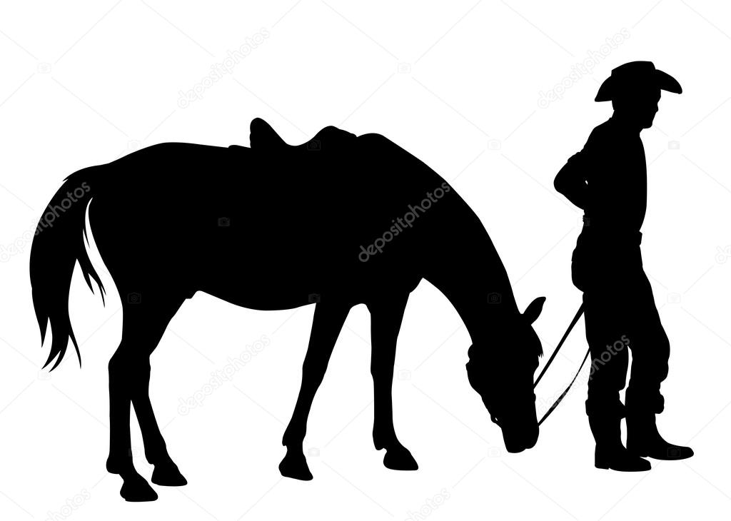 Silhouette Cowboy And His Horse Cowboy With His Horse Silhouette Stock Vector C Bokica 65079853