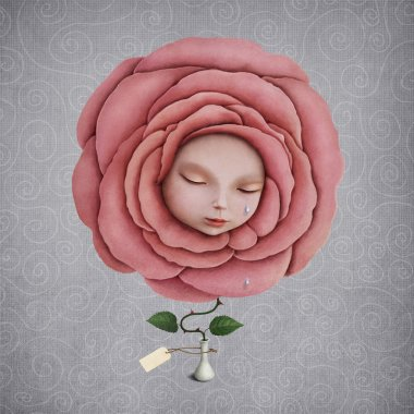 girl with her head in the blooming rose
