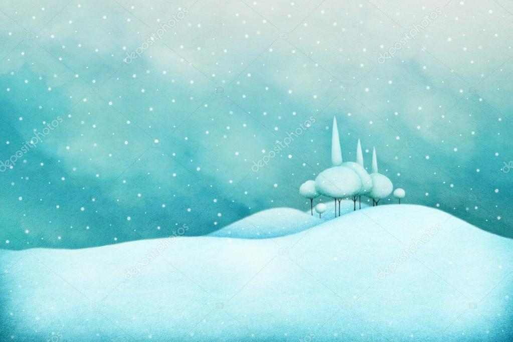 Winter snow for greeting card