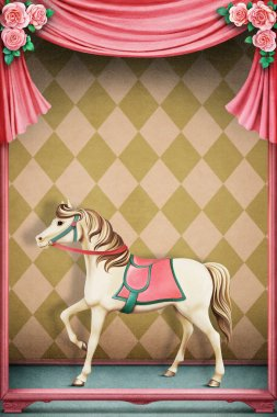 Pastel background with horse