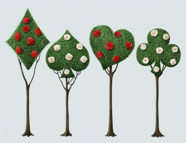 Set of four bizarre trees with card suits and roses . Computer graphics. stock vector