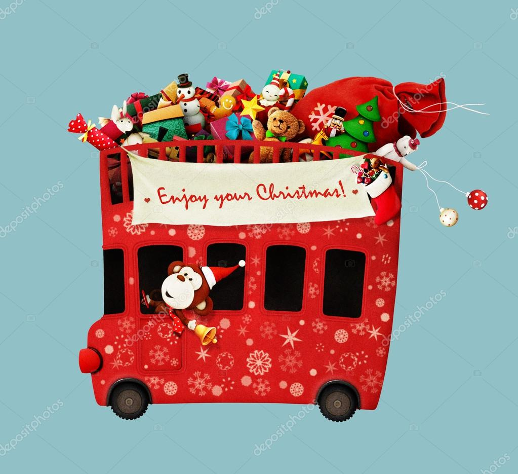 Christmas Red bus and  monkey
