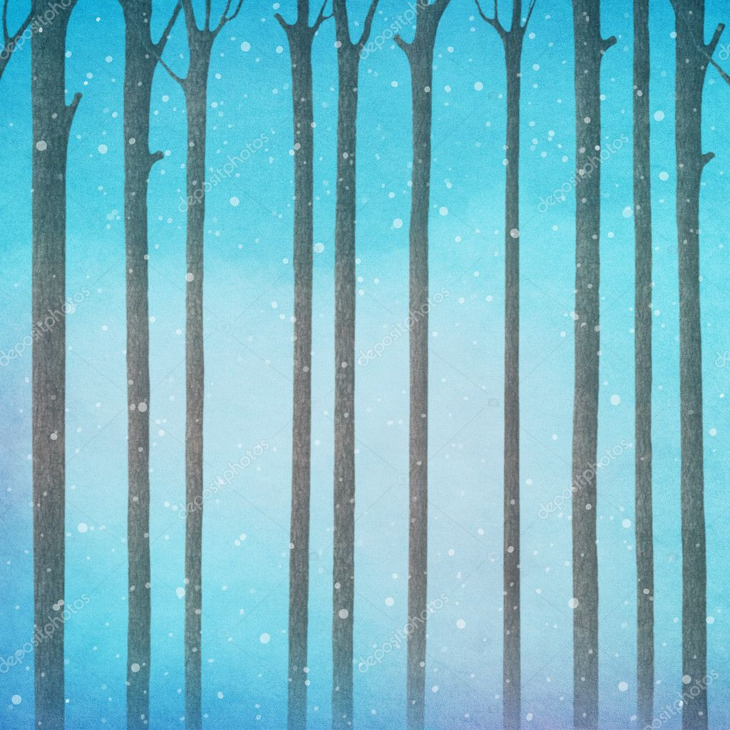 background with trees and snowflakes