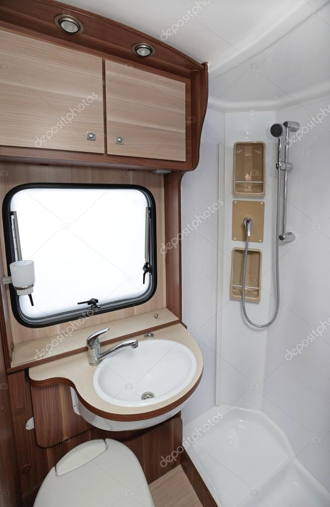 Bathroom With Shower And Toilet In Camper Van Photo By Baloncici