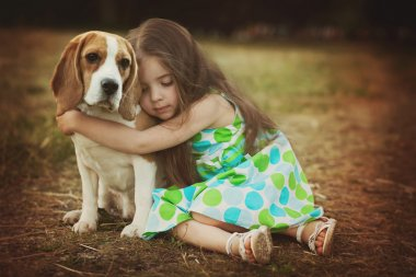 Little girl with dog beagle