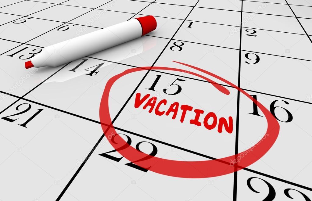 Calendario Vacaciones.Ilustracion De Calendario De Fecha De Vacaciones Foto De Stock