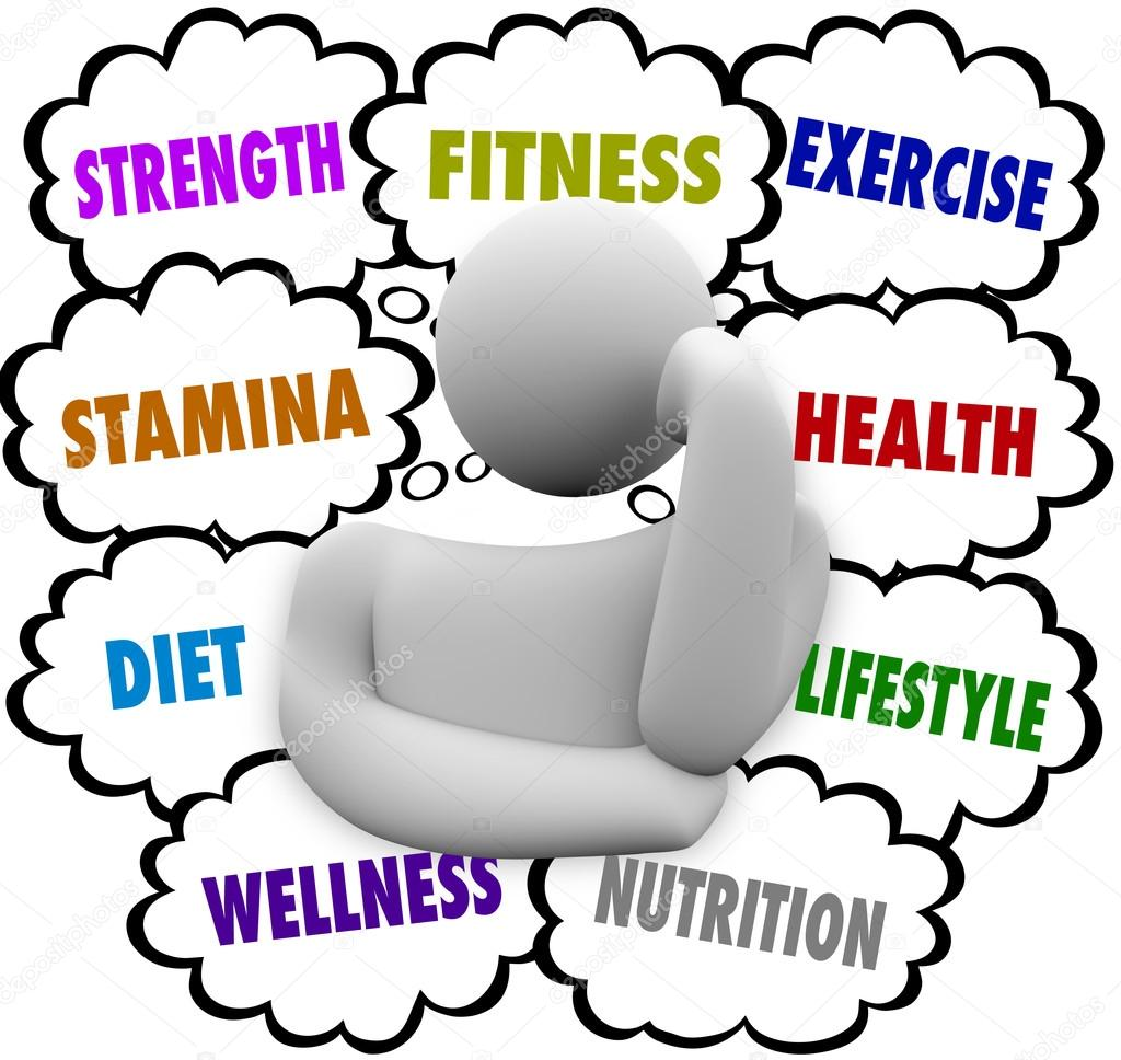 Workout Words: Fitness Words Person Thinking Exercise Diet Wellness Plan