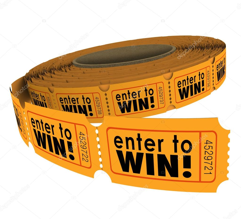 enter to win raffle ticket roll fundraiser charity lottery luck stock photo