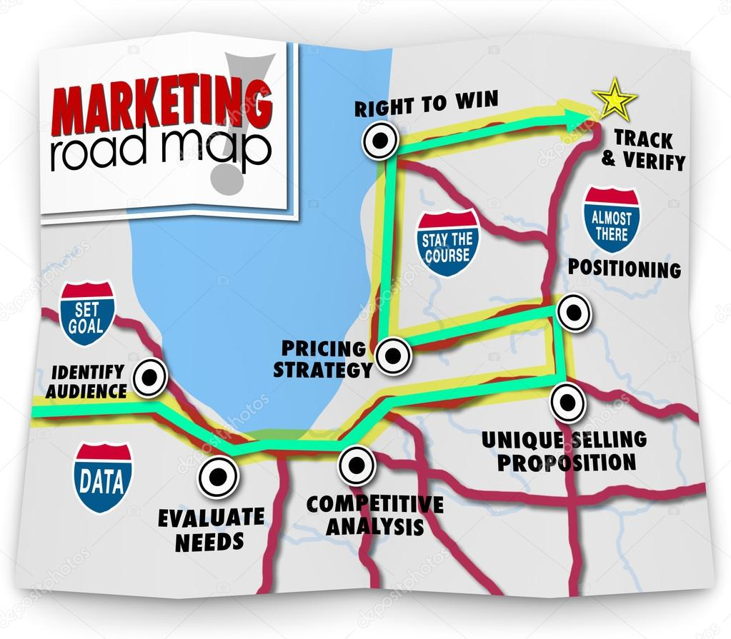 marketing road map directions success launch new product busines stock photo