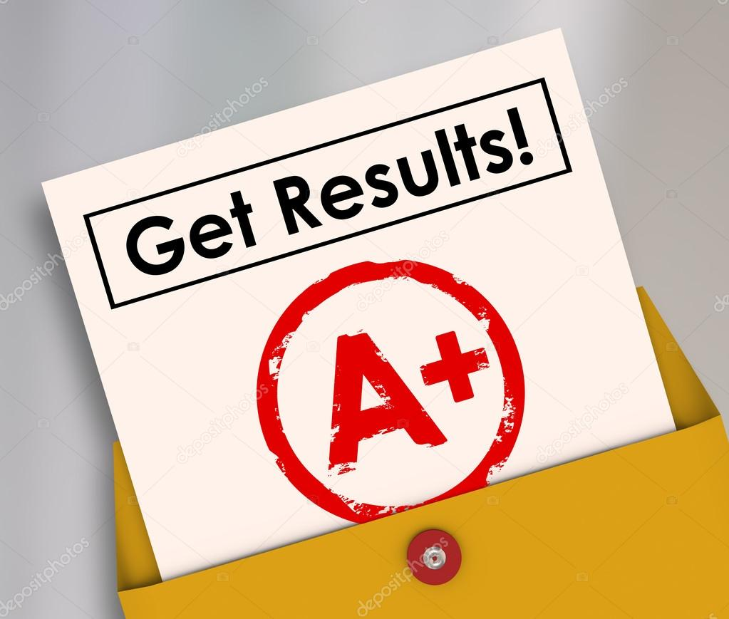 Get Results Report Card Student Letter Grade A plus — Stock