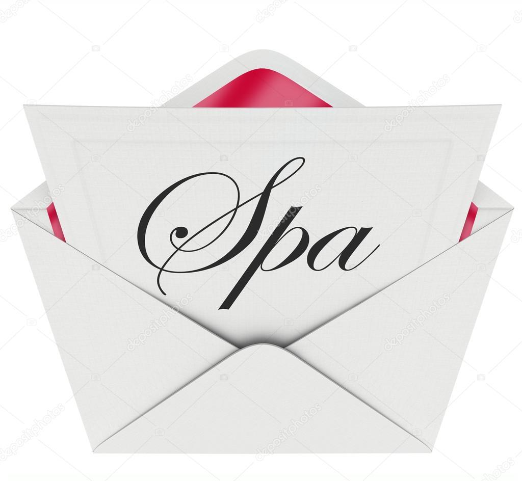 Palabra Spa En Una Tarjeta De Nota U Oferta O Invitación