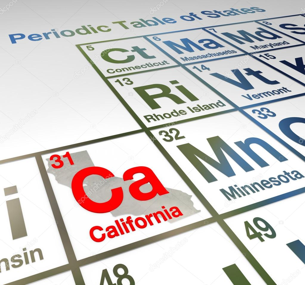 California abbreviation ca on a periodic table of elements stock california abbreviation ca on a periodic table of elements or states comparing th emerits of different locations around the usa or america photo by urtaz Choice Image
