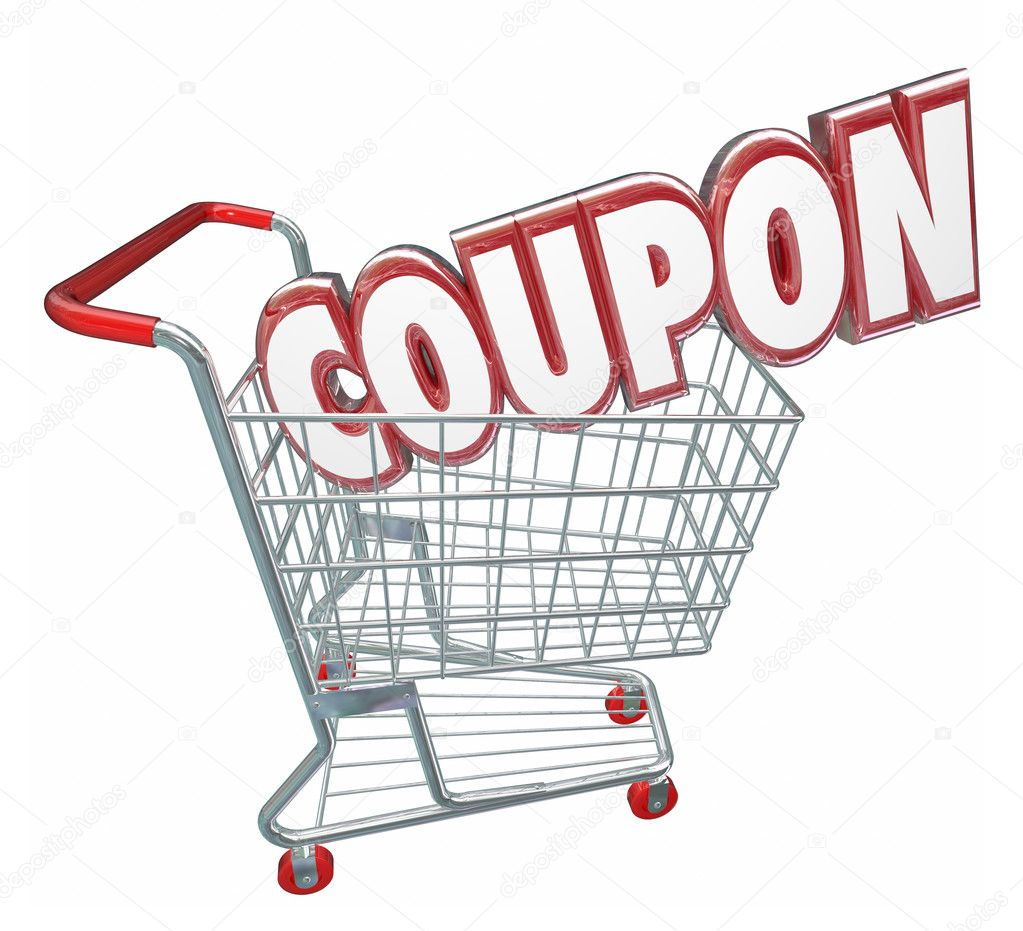Coupon Word In 3d Letters In A Store Shopping Card Stock Photo