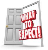 Co očekávat červená 3d slov v otevřené dveře