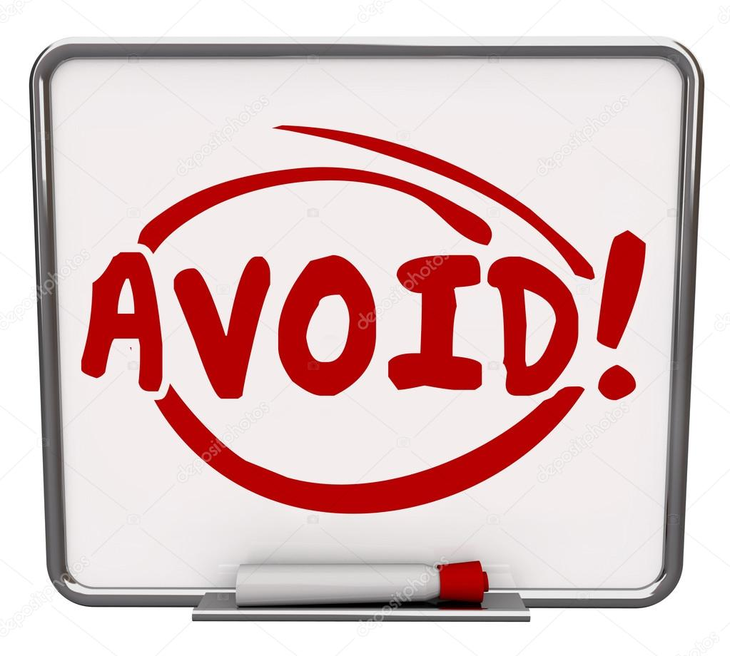 avoid word written and circled on a dry erase board stock photo